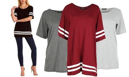 Be JealousVarsity Stripe Oversized TShirt Available up to Size 22