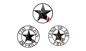 Backyard Expressions Patriotic Wheel Wall Plaques