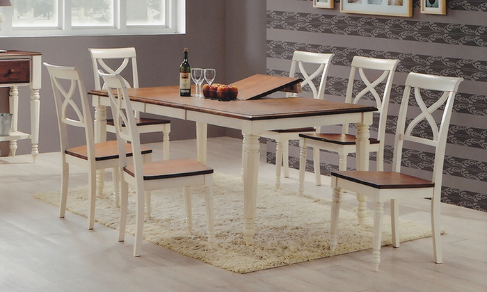 Ashton dining set 8 piece groupon goods - Expandable buffet dining table ...