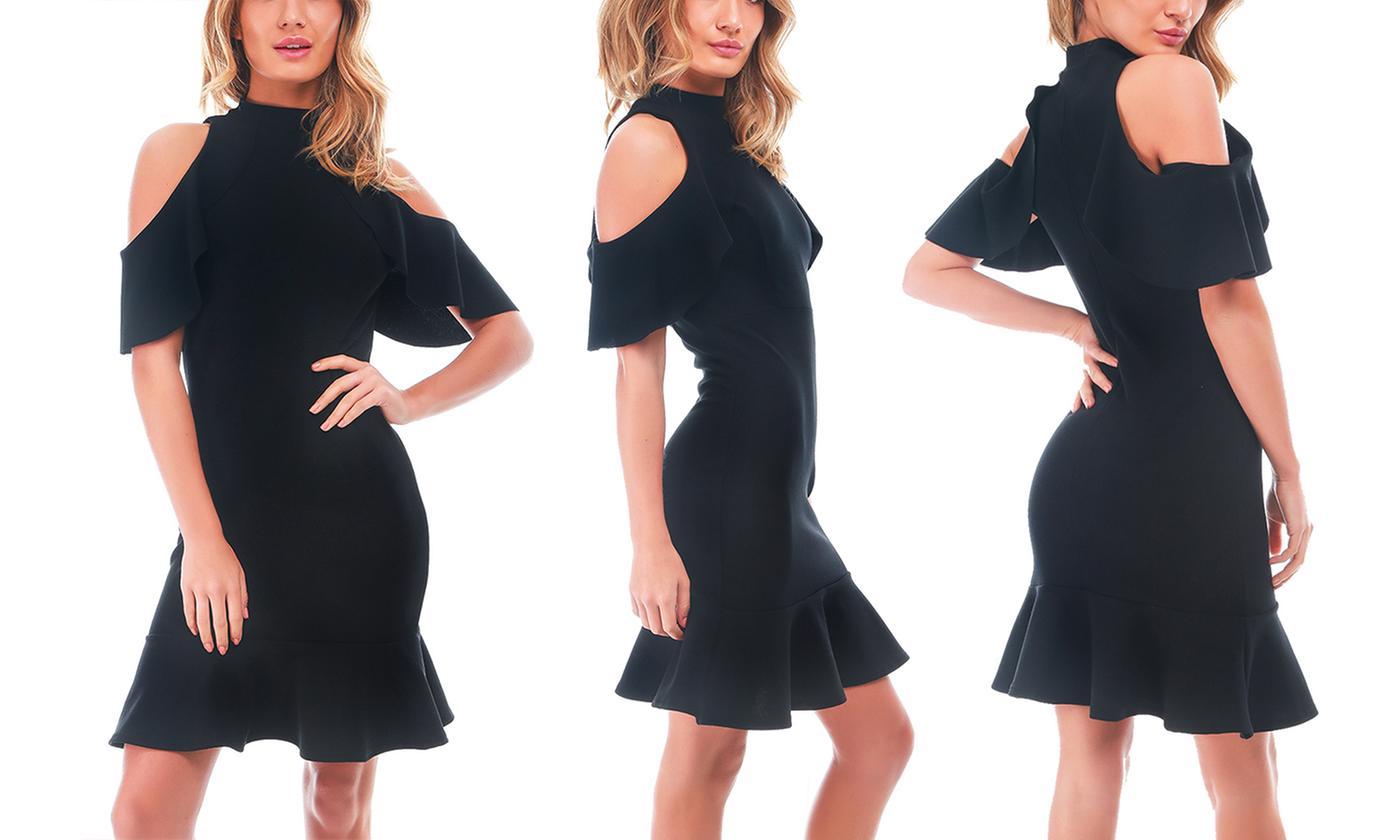 Oops Women's High Neck Cold Shoulder Fishtail Midi Dress