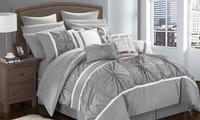 Deals on Cumberland Pinch Pleat Comforter and Sheet Set 16-Piece Queen