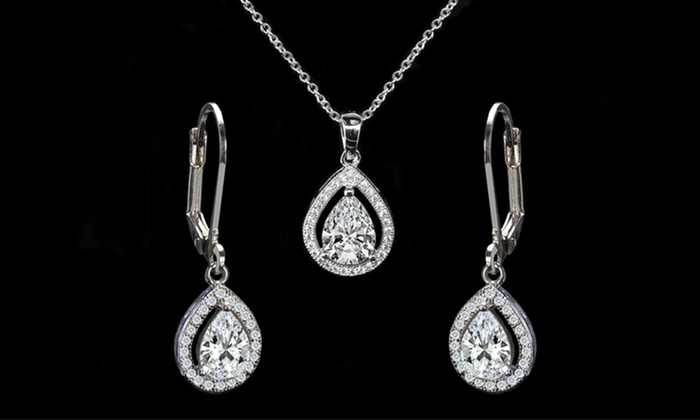 518eb16cd Pear Halo Pendant and Drop Earrings Set made with Swarovski Elements by  Elements of Love