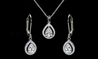 Pear Halo Pendant and Drop Earrings Set made with Swarovski Elements by Elements of Love