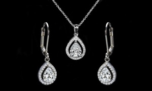 Halo Pendant and Drop Earrings