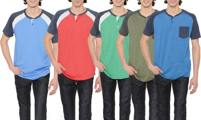 Men's Short-Sleeve Raglan and Henley Tee Shirts (2-Pack)