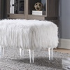 Chic Home Antonio Modern Faux Fur Ottoman with Acrylic Legs