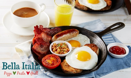 Hot Breakfast with Choice of Drinks for Two at Bella Italia, Nationwide