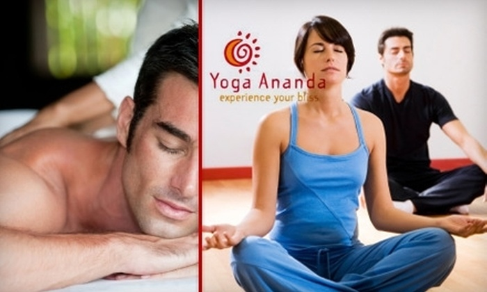 Yoga Ananda - Fairfax: $45 for One Month of Unlimited Yoga Plus One Swedish or Deep-Tissue Massage at Yoga Ananda (Up to $185 Value)