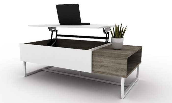 Table basse relevable forest groupon - Table basse blanche plateau relevable ...