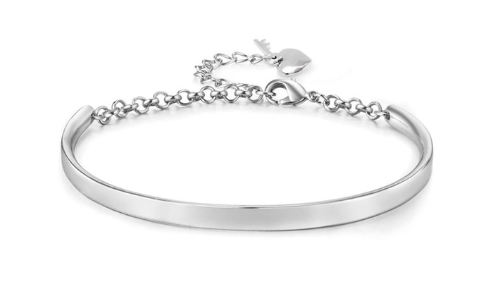 18K White Gold Plated Bangle with Heart and Key Charms: 18K White Gold Plated Bangle with Heart and Key Charms