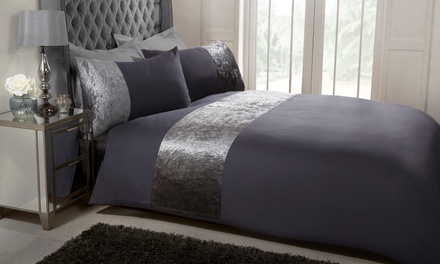 Pieridae Crushed Velvet Trim Duvet Set