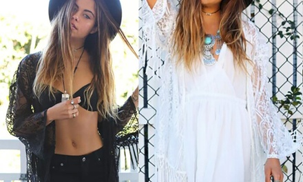 Tasseled Lace Beach CoverUp: One $19.95 or Two $35