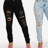 Women's Plus Size Stretchy High Rise Ripped Skinny Jeans