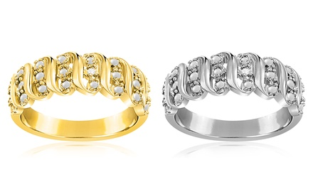 Diamond Accent Wavy Ring in 18K Gold Plating