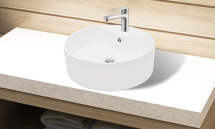 Keramische wastafel vidaxl groupon goods - Wastafel rechthoekig badkamer ...