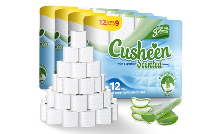 60 or 120 Rolls of Cusheen Quilted Luxury Aloe Vera Toilet Tissues