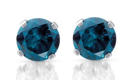 1/3 CTTW Blue Diamond Studs in 14K White Gold by Bliss Diamond