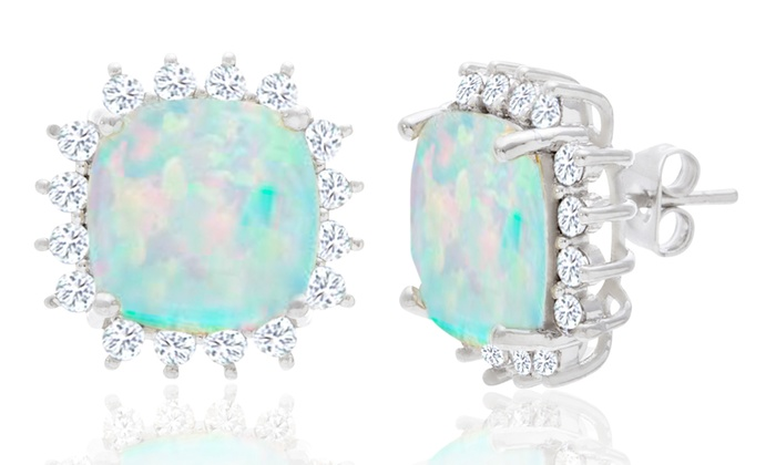 4 00 Ctw Lab Created Opal Princess Cut Halo Stud Earrings