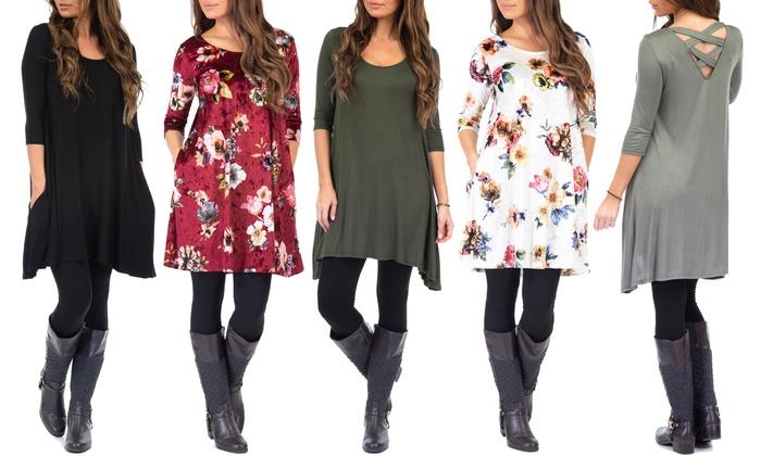 Women S Cross Back Dress With Fleece Leggings Plus Sizes Available Groupon