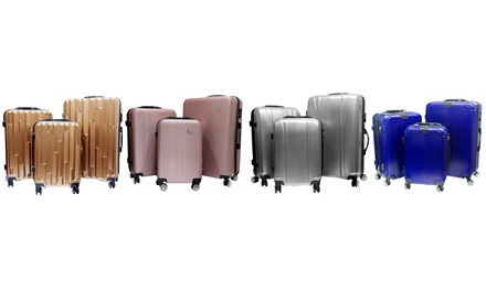Three Piece Hard Cover Luggage Set with Tracker Chip and Scale in Choice of Colour for AED 479