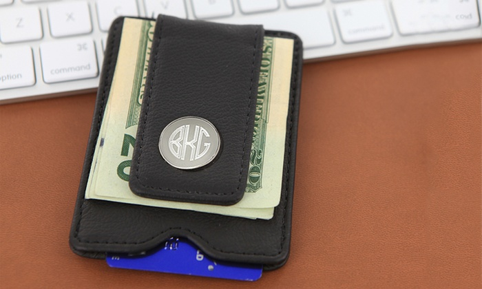 Monogram Online: Personalized Black Leather Money Clip from Monogram Online ($67.99 Value)