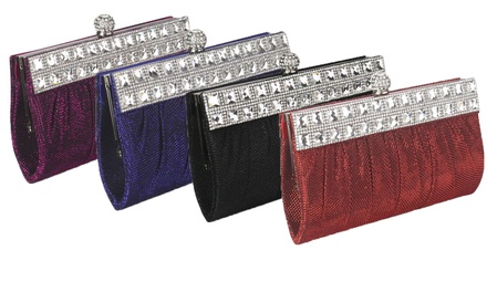 Ruched Satin Clutch With Crystal Decoration in Choice of Colours for £12.95 (72% Off)