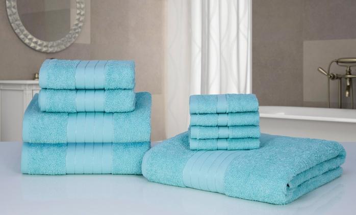 Set di asciugamani da 9 pezzi disponibili in vari colori a 27,90 € (57% di sconto)