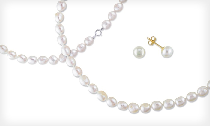 Freshwater-Pearl Necklace and Earrings : $13 for a Freshwater-Pearl Necklace and Earrings Set ($90 List Price). Free Returns.
