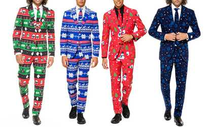 Groupon Opposuits Men S Slim Fit Ugly Christmas Star Wars Suits