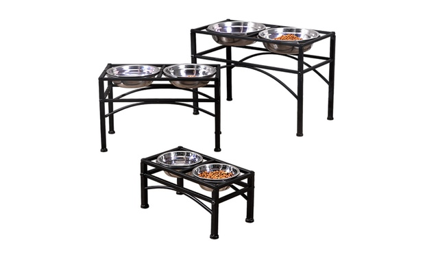 Stainless Steel Dual Elevated Raised Pet Bowl Sets: Small ($25), Medium ($29) or Large ($39)