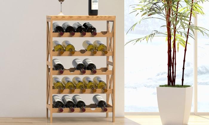 Lavish Home Freestanding Rustic Wooden Wine Bottle Rack Groupon