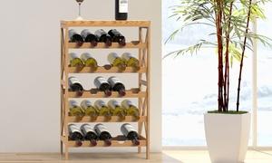 Lavish Home Freestanding Rustic Wooden Wine Bottle Rack