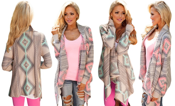 1x oder 2x Cardigan mit geometrischem Muster in Pink oder Grün (70% sparen*)