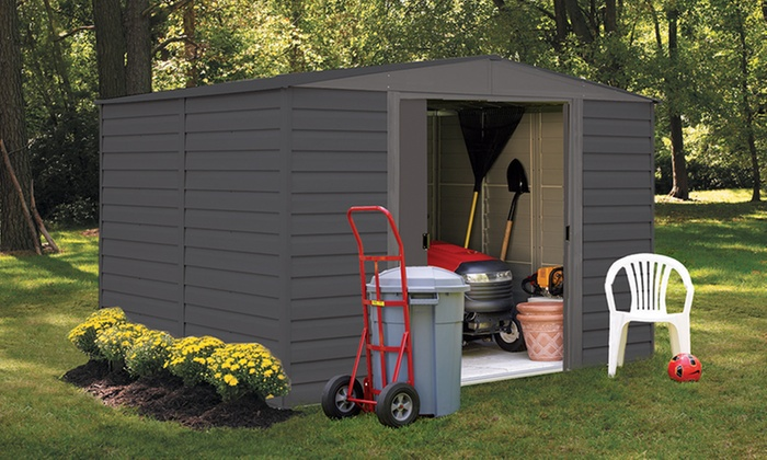 Vinyl Dallas Gray Series Sheds from Shelter Logic