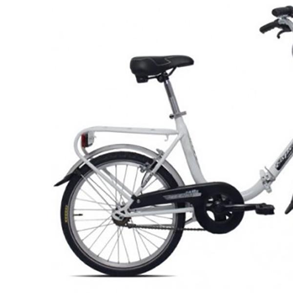 Bicicletta Esperia Bianca Con Telaio In Acciaio Pieghevole E Ruote Da 20