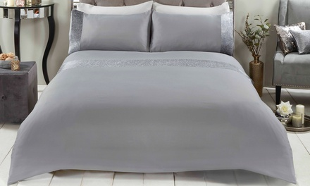 Velvet and Sparkle Finish California Bedroom Duvet Cover Set or Bedspread