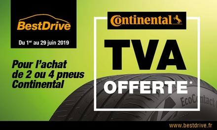 TVA offerte pour l'achat de 2 ou 4 pneus Continental à 0 €