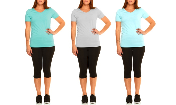 Melange Moisture-Wicking V-Neck Top (3-Pack). Plus Sizes Available.