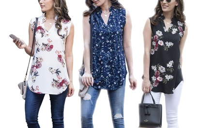 Women's Floral-Print Sleeveless Top