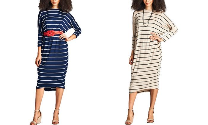 Shoppe247 Women's Dolman-Sleeve Striped Dress