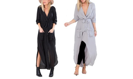 Women's Belted Tunic Maxi Dress