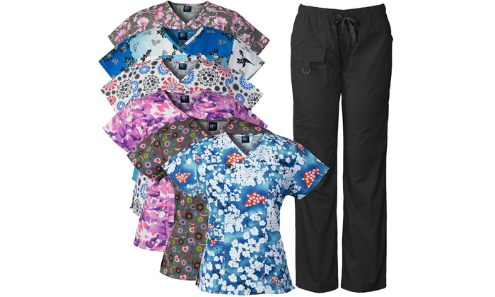 cdd0b7cc246 Medgear Women's Printed Top and Multi-Pocket Pant Scrub Sets