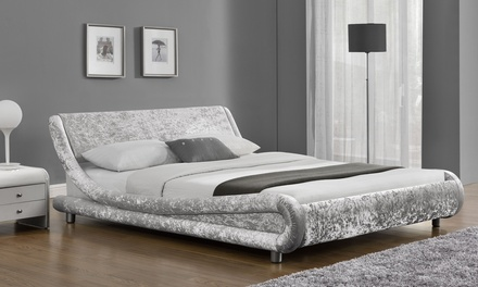 Galaxy Velvet Fabric Bed in Choice of Colour and Size with Option to Include Mattress With Free Delivery