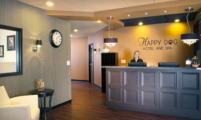 Happy Dog Hotel and Spa - Carmel: Boarding and Grooming for Up to Two Dogs at Happy Dog Hotel and Spa in Carmel (Up to 63% Off). Two Options Available.