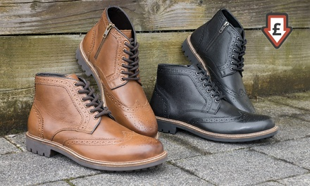 Men's Leather Brogue Boots for £34.99 With Free Delivery (75% Off)