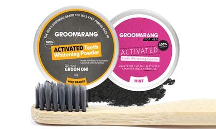 Brosse à dents bambou & poudre de charbon naturelle parfumée pour réduire les tâches & blanchir les dents