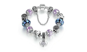 Genuine Murano Glass Heart Charm Bracelet by Mina Bloom