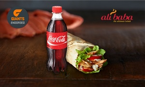 Ali Baba - the ultimate kebab: Regular Kebab and 390ml Drink for One ($6) or Two People ($11.50) at Ali Baba, 40 Locations (Up to $27 Value)