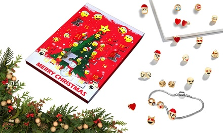 Christmas Emoji Jewellery Advent Calendar with Eight Pairs of Earrings and 15Charm Bracelet Set: One $25 or Two $45