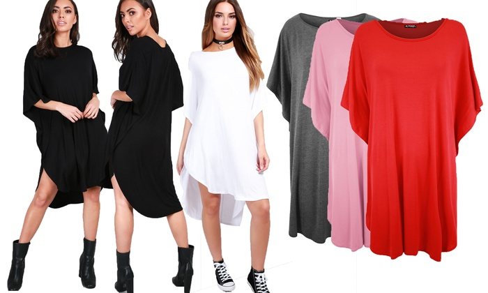 Oversized T-Shirt Dress in Choice of Colour from £8.99